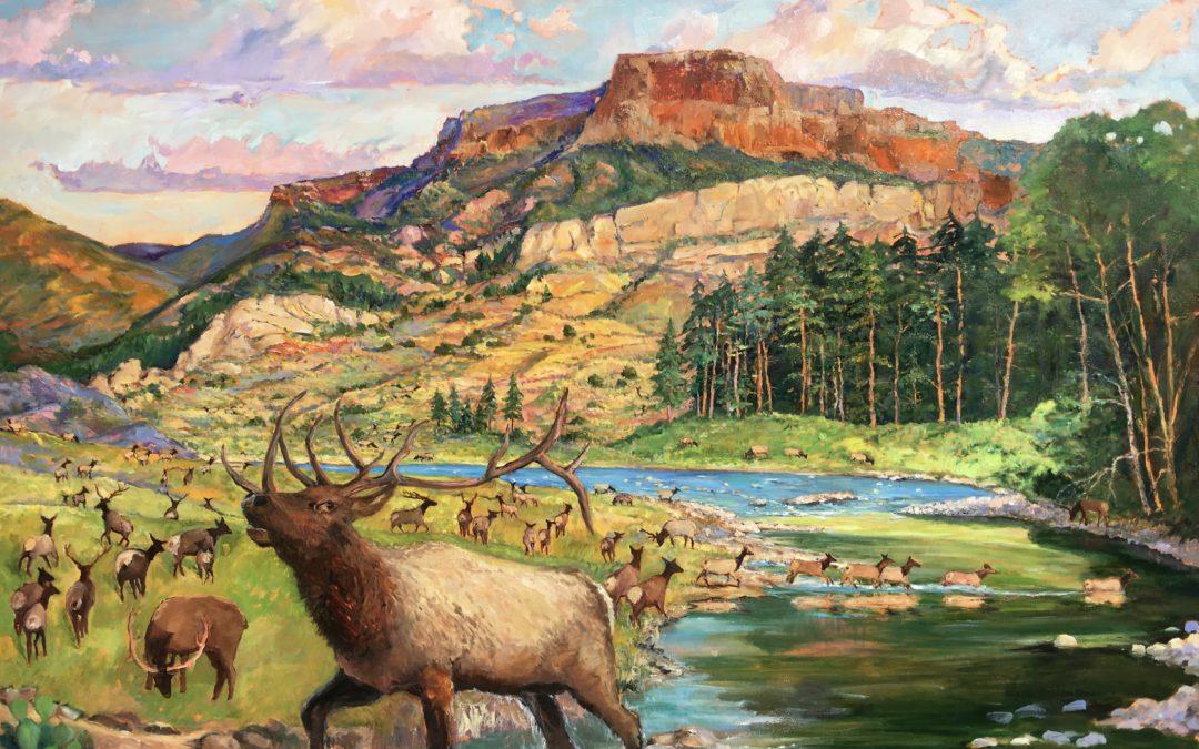 Elk Herd Beneath Fishers Peak