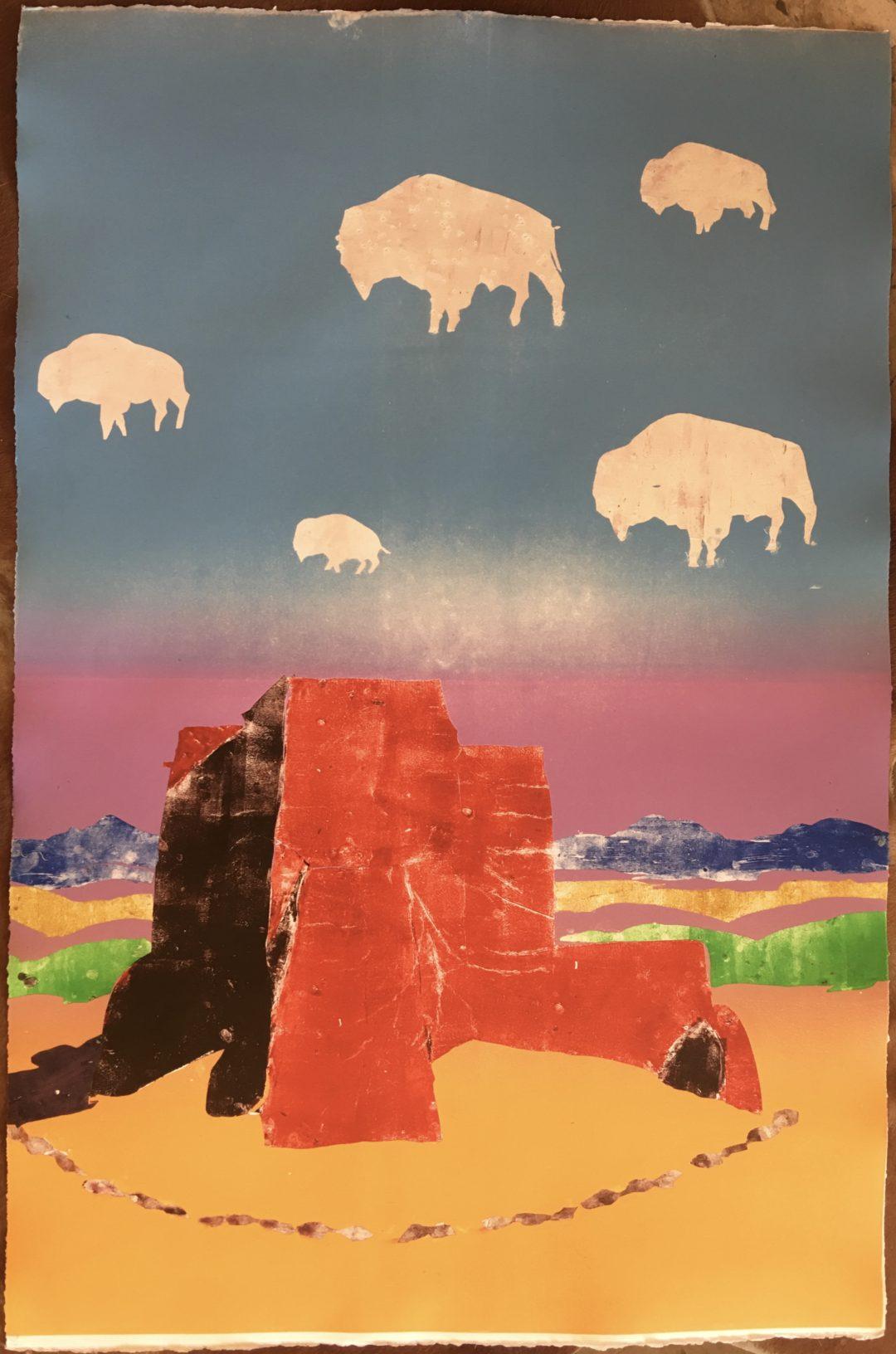 Buffalo Clouds Over Ranchos Church